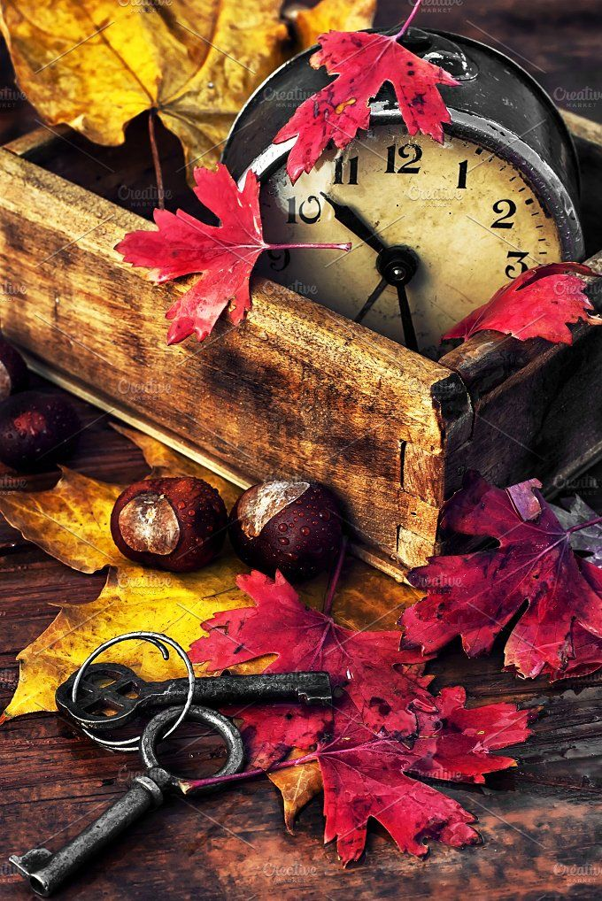 October fall leaves Photos Obsolete alarm clock on wooden background strewn with fallen leaves by MLunov