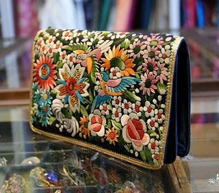 vintage embroidered clutch.