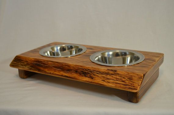 Dog bowl stand  Pint crafted from live by CrawfordCreekRustics