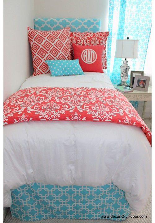 Classic Coral Damask Designer Teen & Dorm Bed in a Bag | Teen Girl Dorm Room Bedding