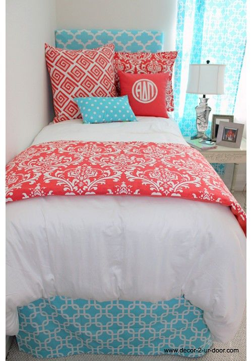Classic Coral Damask Designer Teen & Dorm Bed in a Bag | Teen Girl Dorm Room Bedding