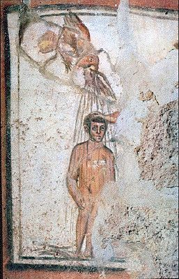 Fresco of a baptism from the Catacombs of Marcellinus and Peter.