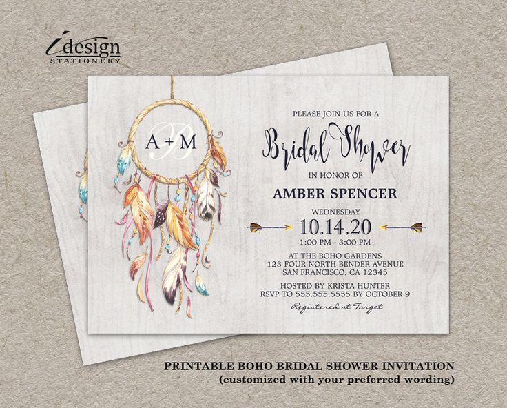 Rustic boho chic dreamcatcher bridal shower invitation for Themed bridal shower invitations