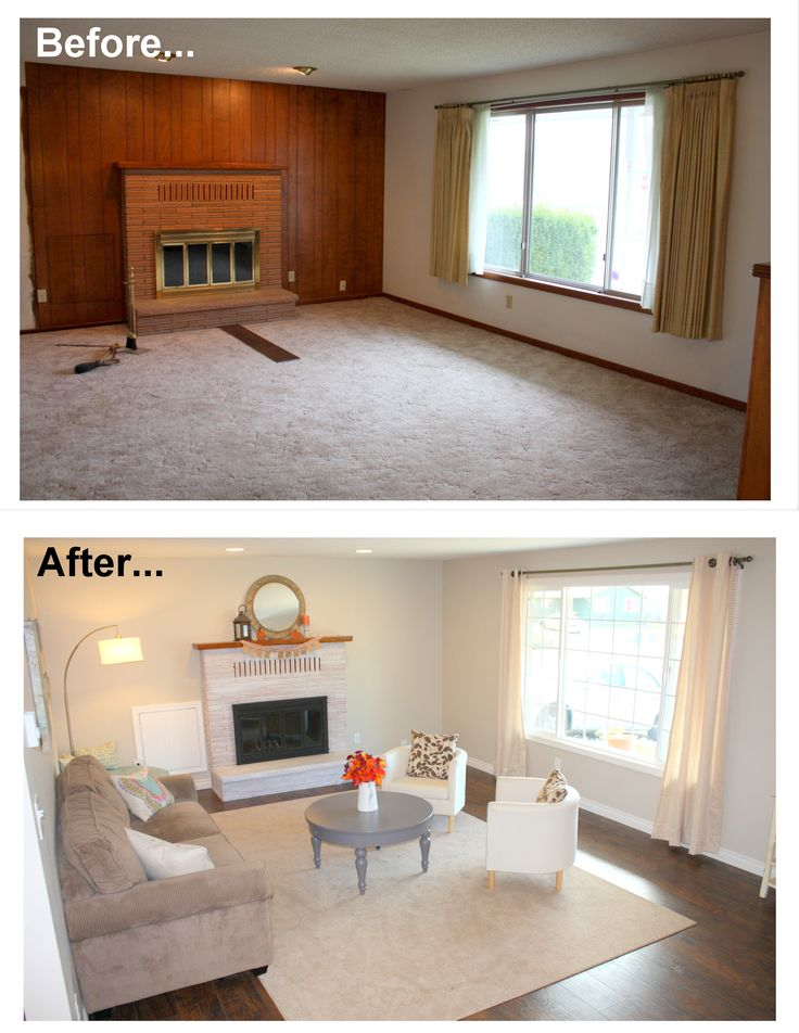 1960's living room makeover remodel before and after. New hardwood floor,  window, white - Best 25+ Wood Paneling Makeover Ideas On Pinterest Paneling