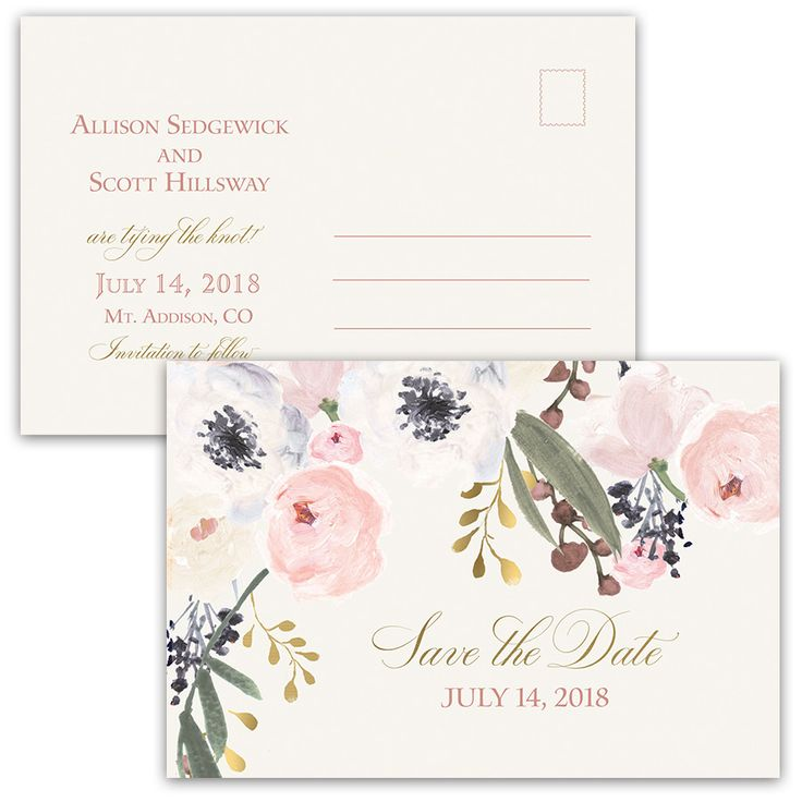 Blush Gold Floral Bohemian Save the Date Postcards. Bohemian floral wedding save the date postcards featuring boho chic florals in blush, pale purple, berry and mixed greenery. The save the date postcard is completed with handwritten script calligraphy in bold gold and blush pink.