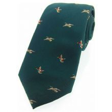 Flying Ducks On Green Ground Country Silk Tie