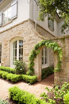 French Country Exterior Design Ideas, Pictures, Remodel and Decor=To form a courtyard entrance