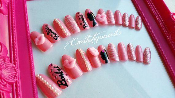 Barbie Nails20 NailsFalse NailsStiletto NailsOval by emitokyonails