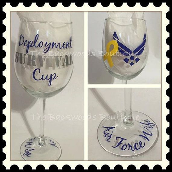 Air Force Deployment Survival Cup Wine Glass - Military Mom - Military Wife - Deployment Gift - Customize For Any Branch!  Yellow Ribbon