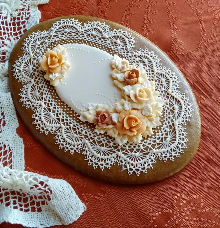 Fall Elegance   Cookie Connection. Delicate roses in a pastel Autumn palette set on stunning lace by Teri Pringle Wood.