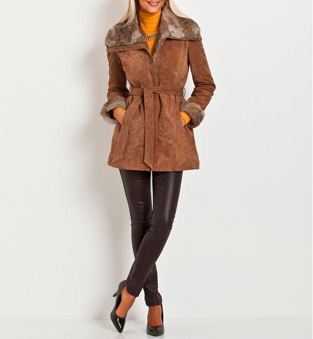 Manteau en croute de porc Grain de malice.  #cuir #veste #manteau #mode #femme #fashion