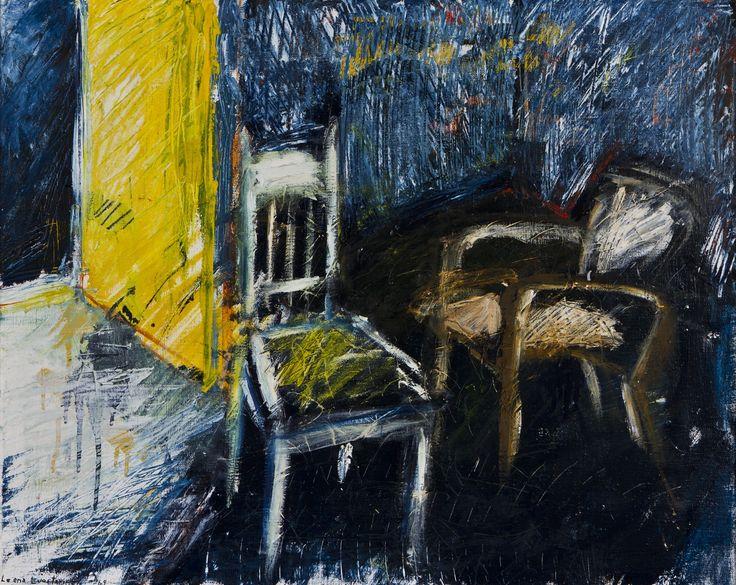 Leena Luostarinen: kakis tuolia huoneessa, 1969, 65x81 cm - Hagelstam K138