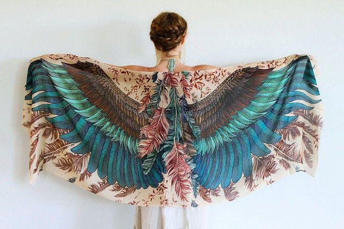 Artist Creates Beautiful Handmade Scarves With Bird Wing Motifs