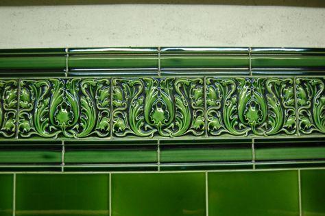 Acanthus leaf tiling at Regent's Park Underground station, London, UK.