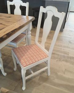 4 dining chairs painted white shabby chic