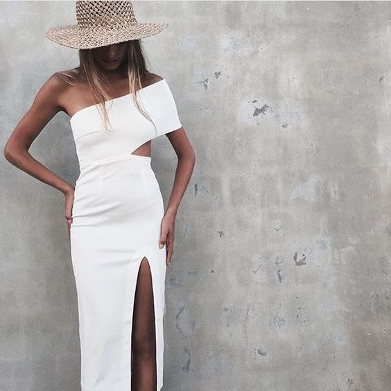 White cutout dress.