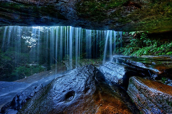 Behind The Falls by Ian English Somersby Falls, Central Coast, NSW, Australia