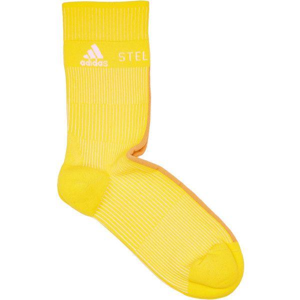 Adidas by Stella McCartney Ankle Socks (€15) ❤ liked on Polyvore featuring intimates, hosiery, socks, yellow, ankle socks, tennis socks, adidas socks, adidas and sport socks
