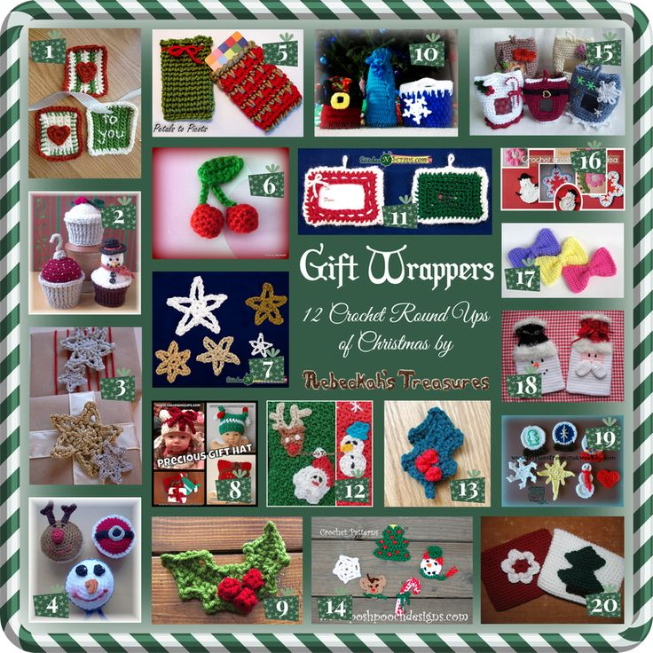 Gift Wrappers - 20 free and paid crochet patterns for gift wrappers, roundup curated by Rebeckah's Treasures