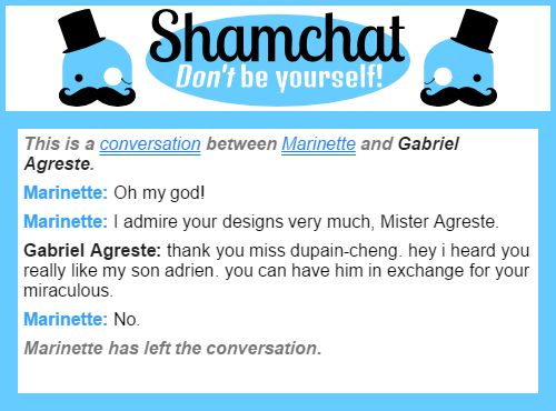 A conversation between Gabriel Agreste and Marinette