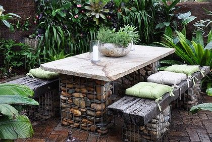 MUST ENLARGE! Recycled building materials can make great furniture and garden features.