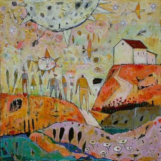 oh, what a world, what a world...:The Earth, Moon, And Sun, acrylic on canvas, -   jane filer
