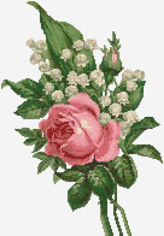 Rose With Lily If The Valley Free Cross Stitch Pattern