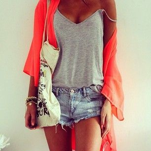 Spring Outfit - Shorts - Tank Top - Bright Cardigan