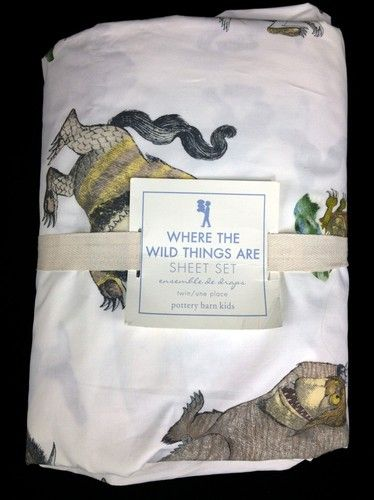 Pottery Barn Kids Where The Wild Things Are Twin Sheets Set New Max Cozy Patch | eBay