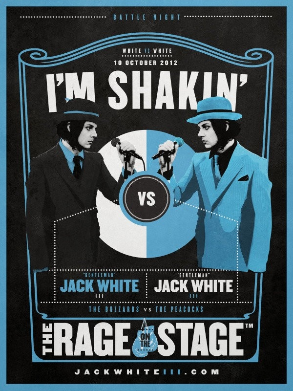 """In Jack White's latest clip, """"I'm Shakin' (the latest single from his solo album Blunderbuss), the always dapper, former White Stripe challenges the only musician who is equal to him in every category -- himself. We had to do a double take for this video because yes, there are two Jack Whites battling it out in what could only be described as a Scott Pilgrim-esque battle of the bands (well, without Michael Cera). While Mariah Carey may have faced off against herself first,"""