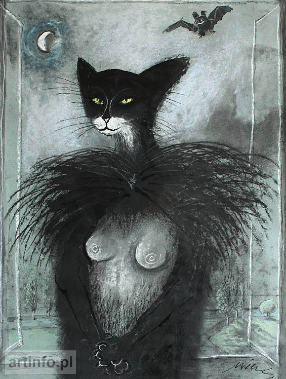 WILKOŃ Józef (ur. 1930)  -   Bez tytułu,  technika własna/papier, 46 x 34 cm, sygn.