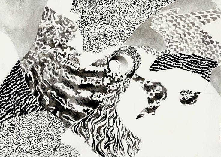 """Five owls"" graphics, sketch ( paper, ink )"