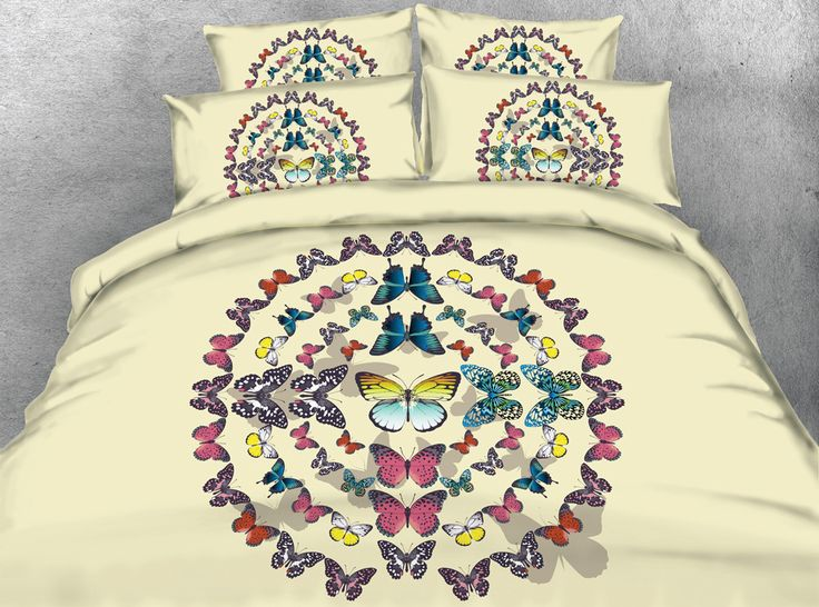 3D Printed Comforter Bedding Sets Twin Full Queen Super Cal King Size Bed Duvet Covers Bedclothes Bright Colored Butterfly Girls #Affiliate