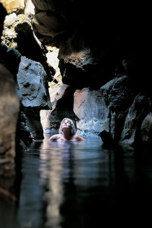 Leyningja-Cave in Iceland. A hidden hot spring underground.