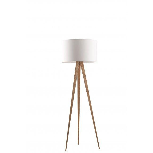Zuiver Vloerlamp Tripod Wood Wit