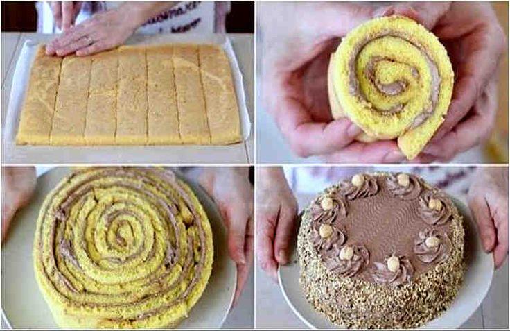 Это рецепт от популярного кулинарного итальянского блогера Бенедетты. Она очень любит простые, но в то же время оригинальные рецепты. Вот один из таких. Это сочный и нежный тортик!  Начинка делается на основе сливочного сыра и Нутеллы с орехами. Он похож на бисквитный рулет с нежной кремовой начин