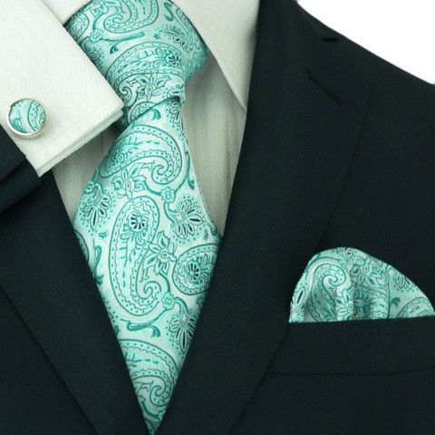 Light Teal Paisley Wedding Tie Set JPM107 – Toramon Necktie Company