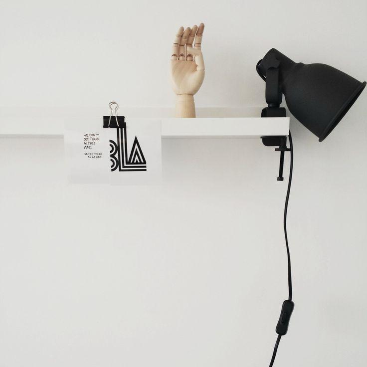 black clamp lamp, white interior, Scandinavian interior, Nordic interior http://frichic.com