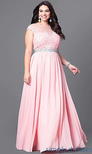 Shop jeweled-waist long plus-size formal dresses at Simply Dresses. Illusion evening dresses under $200 with embellished bodices and cap sleeves.