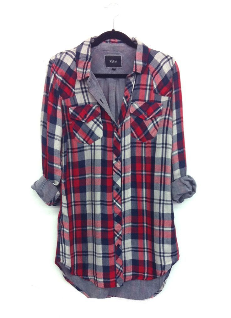 Love the plaid, chambray lining, shirt length