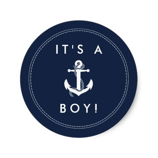 Nautical Anchor Baby Shower Stickers - It's A Boy! More