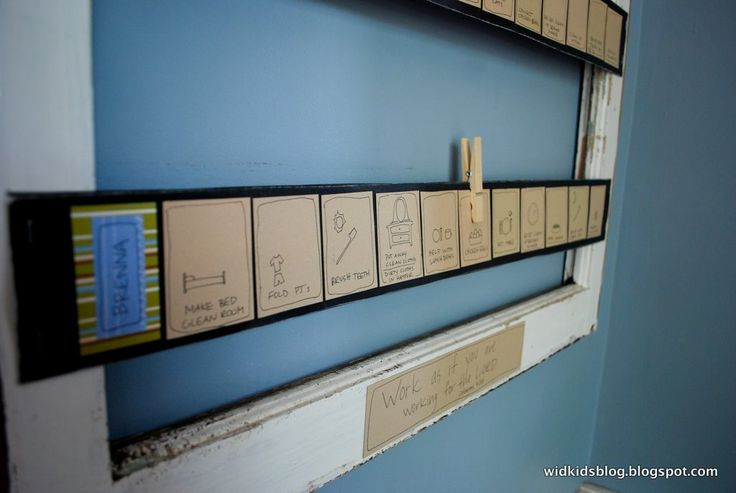 """Chore Chart:  move clip along the boxes until the last box that reads """"receive allowance""""."""
