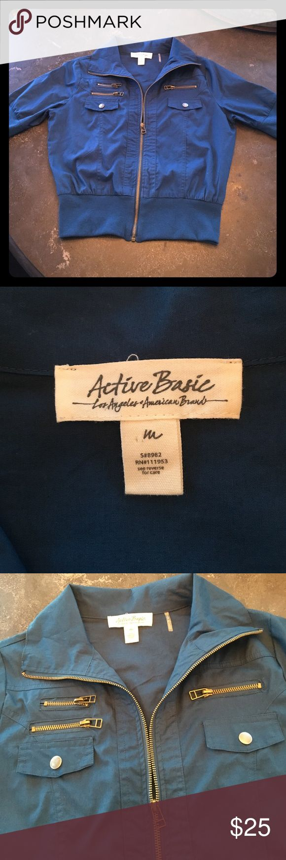 Gorgeous Steel Blue zip up jacket size M Light zip up jacket from Active Basic LA American brand. 3 zip pockets in front and tapered at the waist. Very very cute;) Active Basic Jackets & Coats