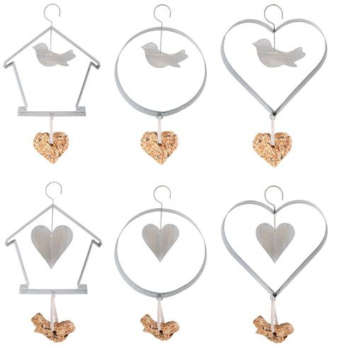 These decorative metal hanging bird feeders, each hold a bird seed cake to entice wild birds into your garden. Hang the feeder from a tree or in a sheltered spot for a lovely garden ornament as well as a useful helping hand for birds.  http://www.english-heritageshop.org.uk/garden/garden-accessories/zinc-hanging-bird-feeders