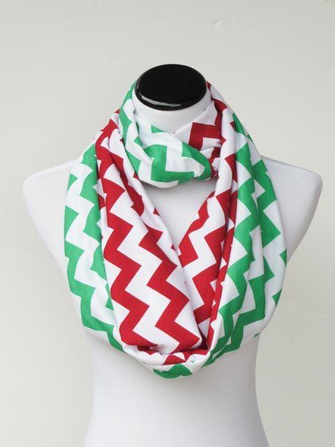 Christmas scarf red green chevron by HappyScarvesByLesya on Etsy