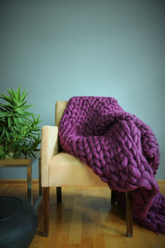 Chunky Knit Blanket Throw Blanket Sofa Throw Extrem by Merrisson