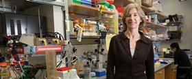 Jennifer Doudna standing in a lab on the right side of frame