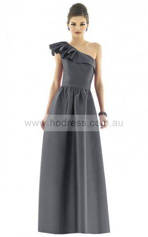 Satin One Shoulder Natural A-line Floor-length Bridesmaid Dresses 0740536--Hodress