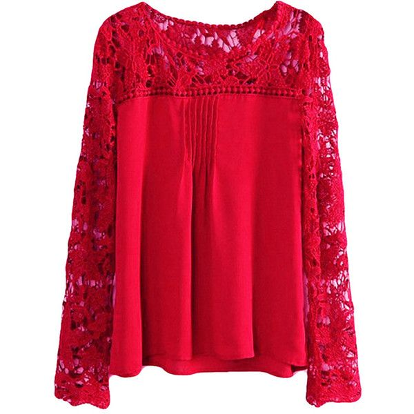 Ruby Plus Size Cut Out Chiffon Long Sleeve Ladies Blouse ($10) ❤ liked on Polyvore featuring tops, blouses, ruby, long sleeve blouse, chiffon top, red top, womens plus tops and long sleeve red blouse