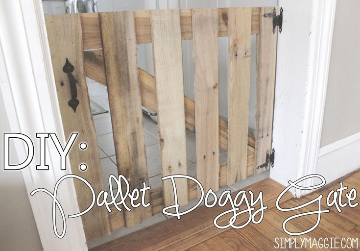 My husband made this for me to keep the dogs out of the kitchen. We were constantly tripping over the step over gate we previously used and he got fed up and threw this together one night. It cost us a total of $7.00! Not bad. We used the the hinges and handle from one of the old cabinets from our kitchen, the boards from one oak pallet and the 7.00 was for the ball clasp that keeps it shut. It's nice and light so it swings easy.